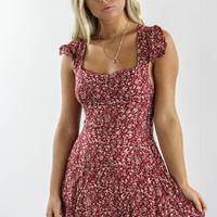 Dancing In The Wind Red Floral Print Dress