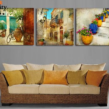 Free shipping 3 panels oil canvas paintings gardening Home decoration wall art canvas painting decorative wall pictures