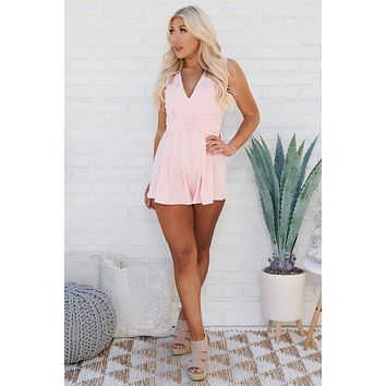Sealed With A Kiss Belted Romper (Coral)