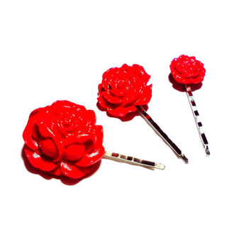 Red Rose Bobby Pin Set Cabochon Flower Hair Pins