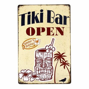 Tiki Bar Open Cocktail vintage bar decor metal sign bar art poster antique tray home decor wall decals