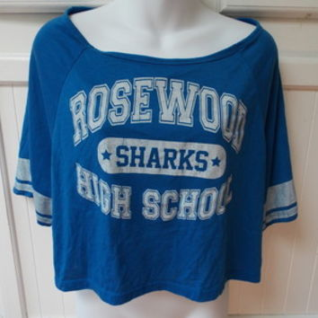 PRETTY LITTLE LIARS Rosewood High School Sharks Blue Stretch Cropped T-shirt L