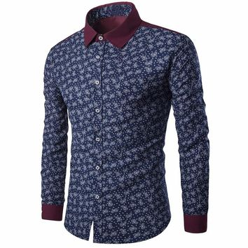 Podom Brand Men's Long Sleeve Printed Button-Down Slim Fit Shirt