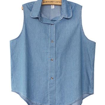 Blue Denim Sleeveless Convertible Collar Vest Top