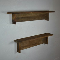 Simple set of 2 wall shelves from recycled wood great patina 21 and 24 wide 4 deep