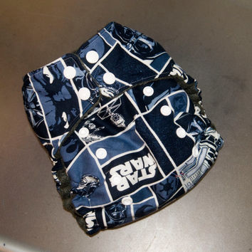 Cloth Diaper All-in-Two with Hemp Insert - Navy Star Wars