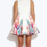 White Floral Print V-Back Sleeveless A-Line Dress