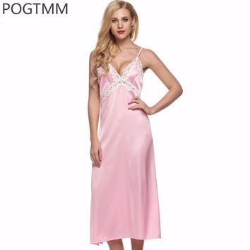 Summer Female Sexy Nighties Sleep Dress Elegant Satin Slip Long Nightgown Women Backless Lace Gown Silk Nightwear Sleepwear L1