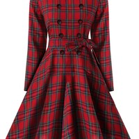 Casual Plaid Long Sleeve Round Neck Bowknot Skater Dress