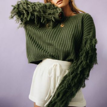 New hot women's cuffs tassel round neck thick needles solid color sweater
