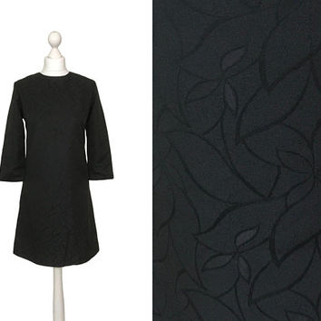 60's Mini Dress | 1960's Vintage Dress | A-line Dress | Short Black Dress | UK Size 8