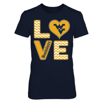 Stacked Love - West Virginia Mountaineers - T-Shirt - Officially Licensed Fashion Sports Apparel