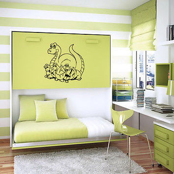 CARTOON DINOSAURS FAMILY BABY ROOM NURSERY  WALL VINYL STICKER ART MURAL B787