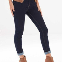 Dark Blue Denim Button Zippered Skinny Jeans