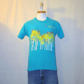 Vintage 1991 RIFLE COLORADO GRAPHIC Nature Wildlife Outdoors Small Hip Cotton Blend T-Shirt