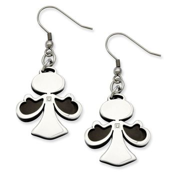Men's Stainless Steel Black-plated with CZ Angel Dangle Earrings