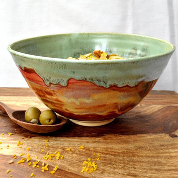 Ceramic Bowl Noodle bowl green rust Autumn Song by OneClayBead