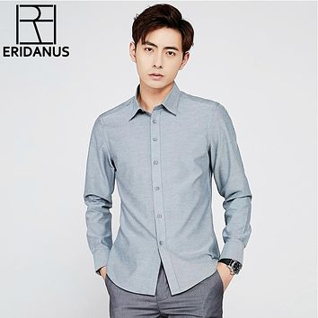 Long Sleeve Shirt Men New Fashion Designer High Quality Solid Shirt Non Iron Slim Fit Business Shirts Formal