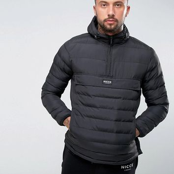 Nicce London Puffer Overhead Jacket In Black With Hood at asos.com