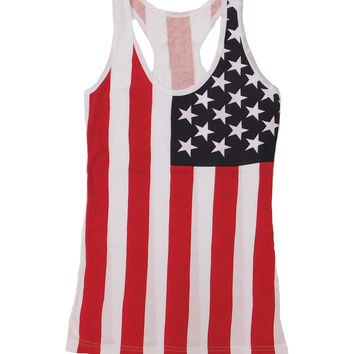 Ladies American Flag Racerback Tank Top