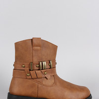 Studded Hardware Embellished Strappy Round Toe Ankle Boots
