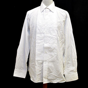 Vintage Croft And Barrow Evening Wear White Tuxedo Smart Wedding Shirt Large
