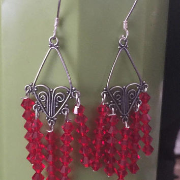 Red swarvoski Crystal chandelier earrings beautiful Elegant Sterling Silver