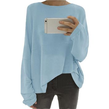 Boyfriend style female pullovers tops 2018 solid color long sleeves t shirt  autumn o neck oversize tshirt tops s-5xl WS9696T