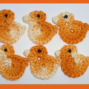 6 small crochet  birds, appliques and embellishment