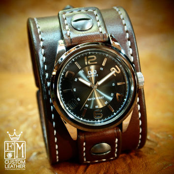 Leather cuff Watch Vintage Chocolate brown bridle leather watchband, handstitched wrist watch made for YOU in NYC by Freddie Matara