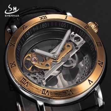 Mens Automatic Mechanical Watches Top Brand Luxury Watch Men Skeleton Transparent Automatic Self Wind Black Leather Wrist Watch