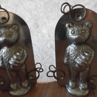 Vintage Chocolate Mold Cake Metal Tin Set of Two Bear with Clips Double Sided Kitchen Bakeware
