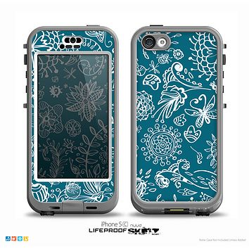 The Blue & White Floral Sketched Lace Patterns v21 Skin for the iPhone 5c nüüd LifeProof Case