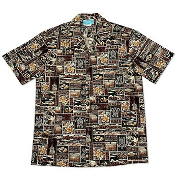 island life brown hawaiian cotton shirt