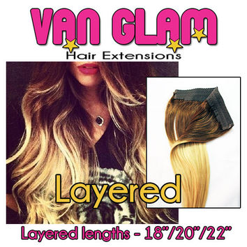 "NEW Layered Bam Glam Halo, Custom Ombre, 18""/20""/22"", Cuticle Remy Human Hair"