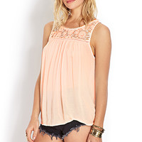FOREVER 21 Crochet Dream Top Peach