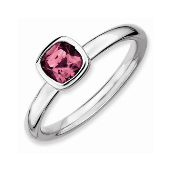 Sterling Silver Stackable Expressions Cushion Cut Pink Tourm. Ring