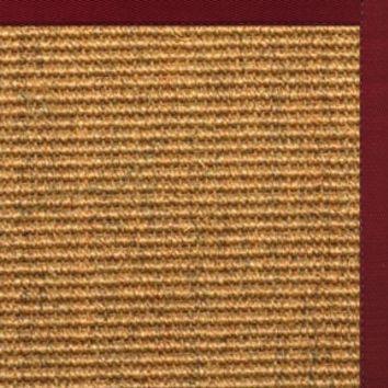 Sustainable Lifestyles Cognac Sisal Rug with Cardinal Red Cotton Border