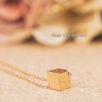 Gold Cube Necklace - dainty, cute and lovely pendant jewelry; minimalist and simple necklace