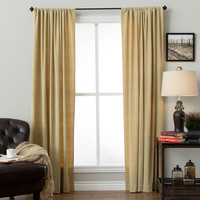 Cotton Velvet Rod Pocket Curtain Panel | Overstock.com Shopping - The Best Deals on Curtains