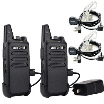 Retevis RT22 Two Way Radio UHF 400-480MHz 16 CH VOX Walkie Talkies(2 Pack) and Covert Air Acoustic Earpiece (2 Pack)