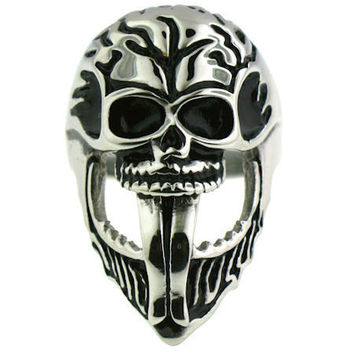316L Stainless Steel Skull Rings with Drop Jaw Sz 8 -16