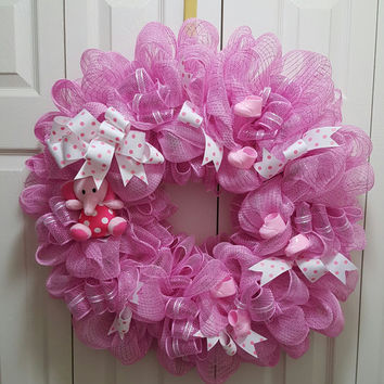Baby Steps Deco Mesh Wreath Pink