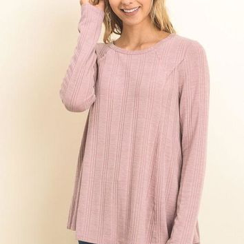 Knit top with raw edge seam detail - Dusty Rose