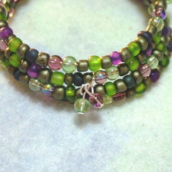 Wrap/Cuff Memory Wire 4 Strand Bracelet, Green, Purple Seed Beads and Glass Beads, Handmade, Jewelry