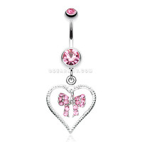 Glam Bow-Tie in Heart Belly Button Ring (Light Pink)