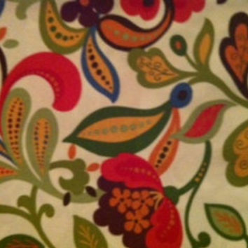 Decorative Body Pillow Cover-Free US Shipping-Approx 20 X 54 inch-Whimsical Wildflower, Red, Blue, Green, Yellow