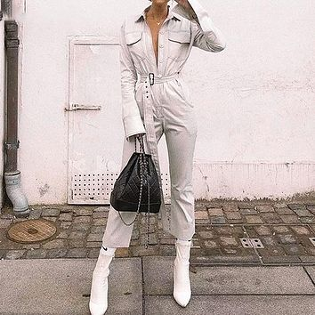 Casual Cotton Long Sleeve Jumpsuit Women Fashion Button Jumpsuit High Waist Belt Jumpsuit