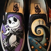 QIYIF disney s nightmare before christmas hand painted vans toms converse