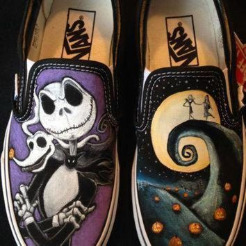 LMFONV disney s nightmare before christmas hand painted vans toms converse